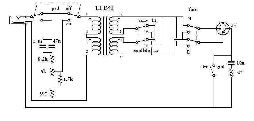 Schema preamplificatore microfonico bilanciato