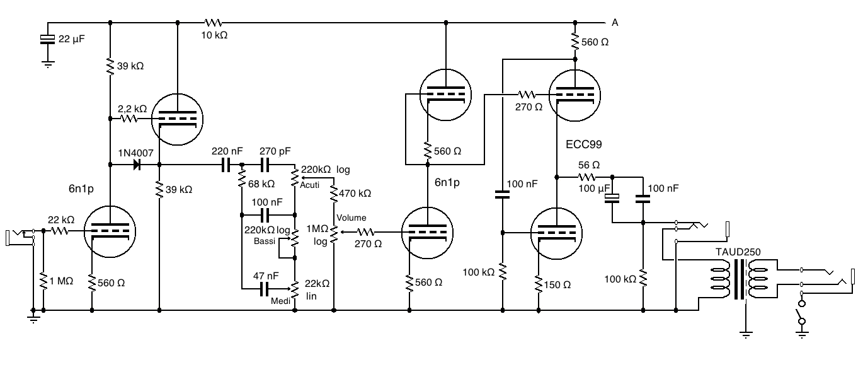 Schema Elettrico Amplificatore Per Basso : Schema elettrico amplificatore valvolare per chitarra