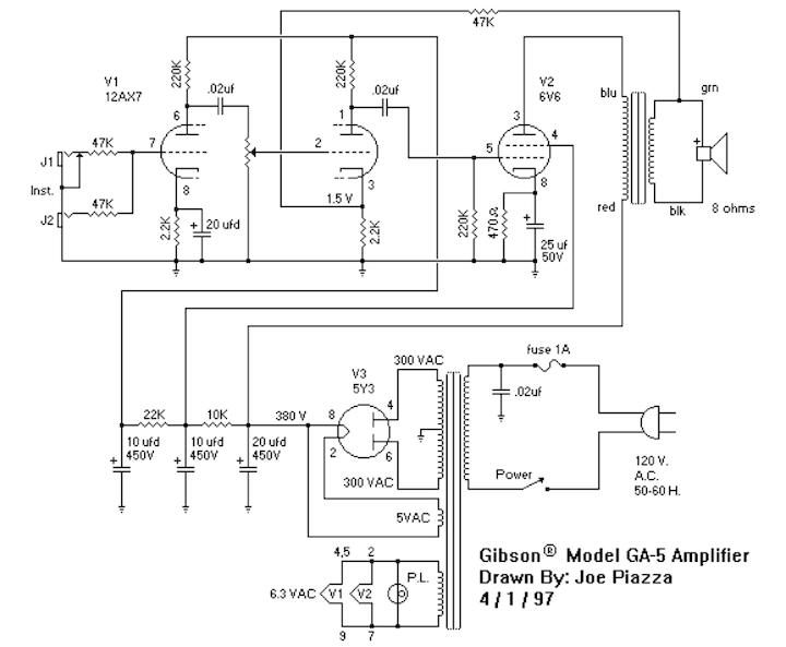 Schema Elettrico Stratocaster : Schema elettrico amplificatore valvolare per chitarra